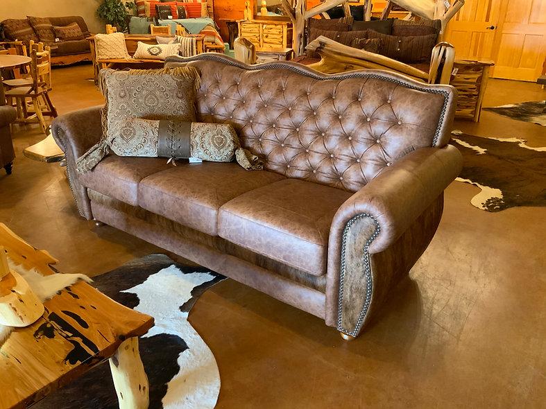 Genuine Leather Tufted Sofa
