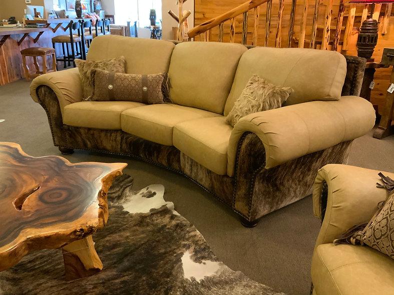 Genuine Leather Curved Sofa