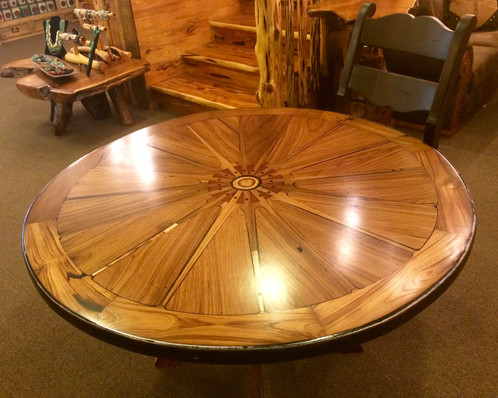 Made With A Genuine Teak Wagon Wheel These Tables Bring A Unique Setting To  Your Hill Country Home!