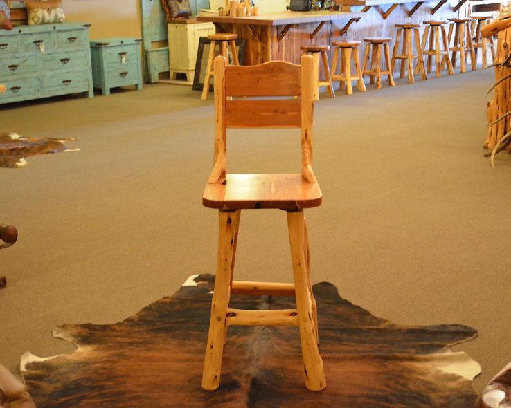 Cedar Swivel Chair Back Bar Stool