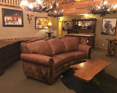 Log Beds Genuine Leather Curved Sofa