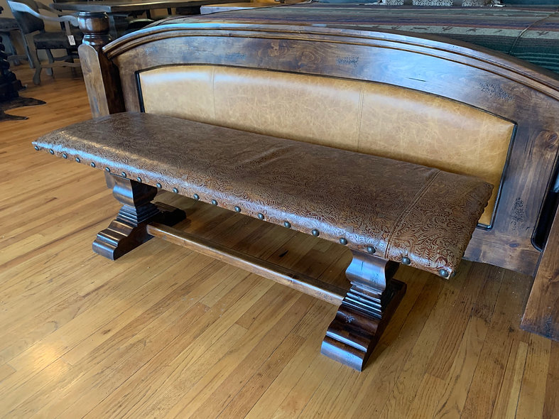 5' Embossed Leather Bench