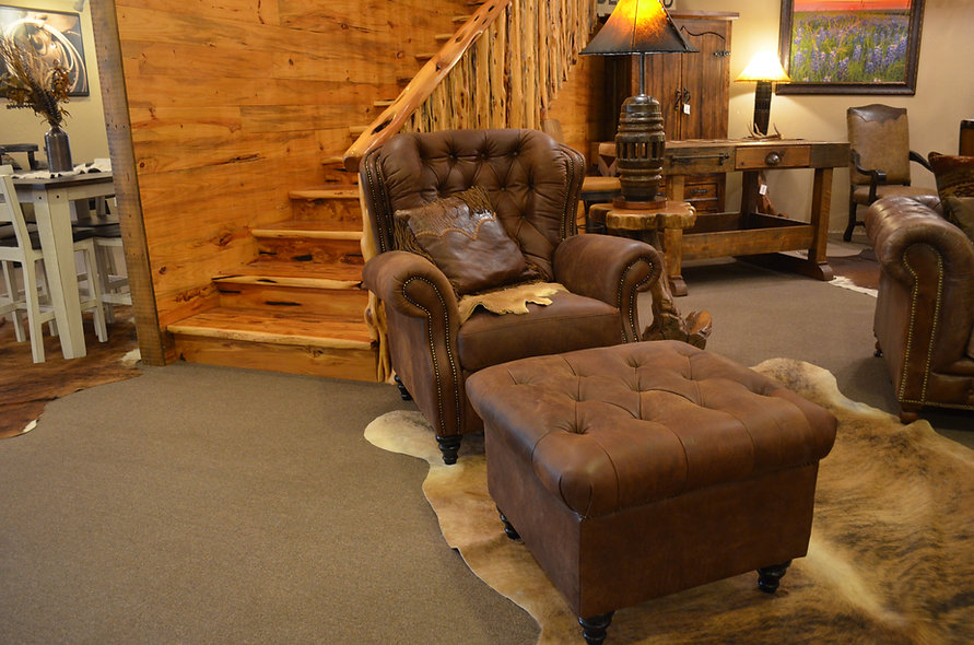 Genuine Leather Chair and Ottoman