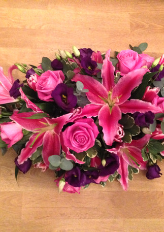 Pink lily and red rose Spray
