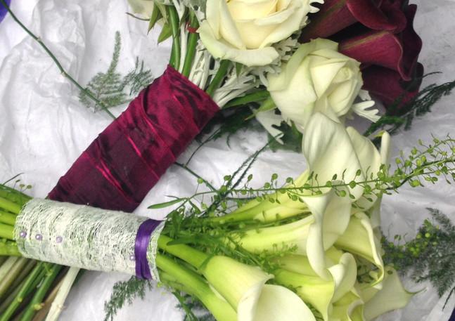 Aubergine bouquet flowers