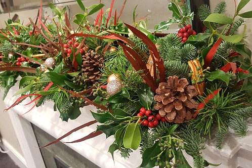 6ft Long Garland with Fresh Pine, Foliage's and Festive Accessories
