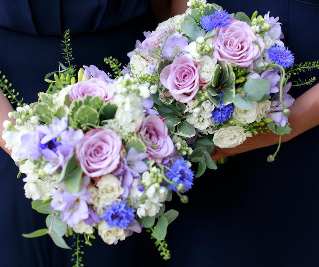 Lilac and blue bridesmaids