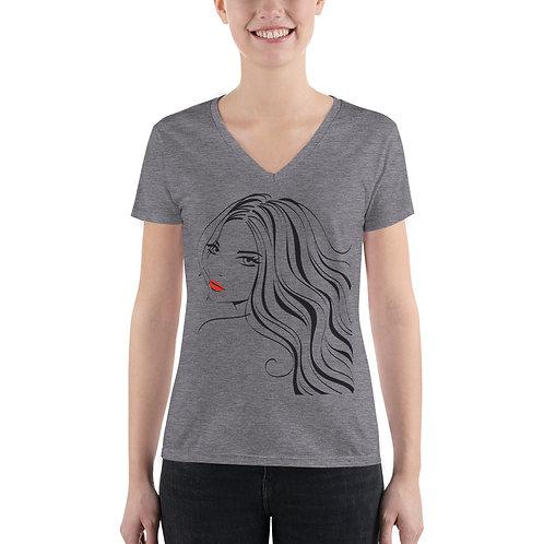 Women's Fashion Deep V-neck Tee- Girl