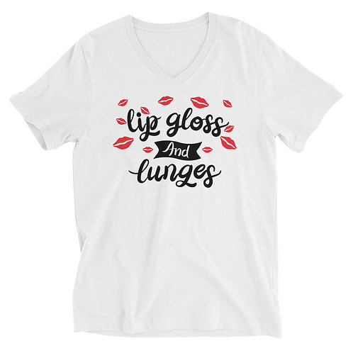 Unisex Short Sleeve V-Neck T-Shirt- Lip Gloss and Lunges