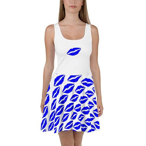Skater Dress- Blue Lips