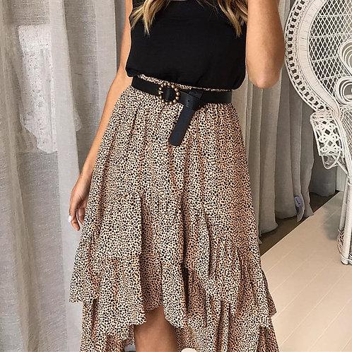 Leopard Print Ruffle Midi Skirts High Waist Asymmetrical Elegant Skirts