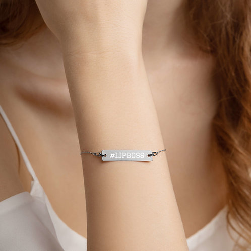 Engraved Silver Bar Chain Bracelet-  #LIPBOSS
