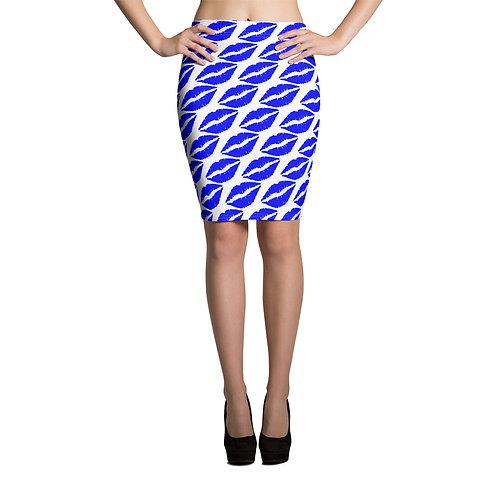 Pencil Skirt- Blue Lips
