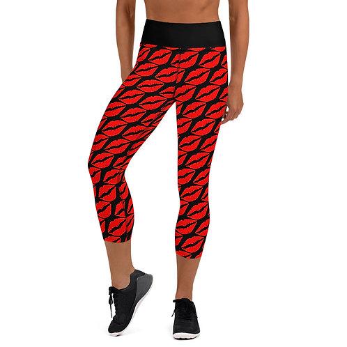 Yoga Capri Leggings -red lips /black
