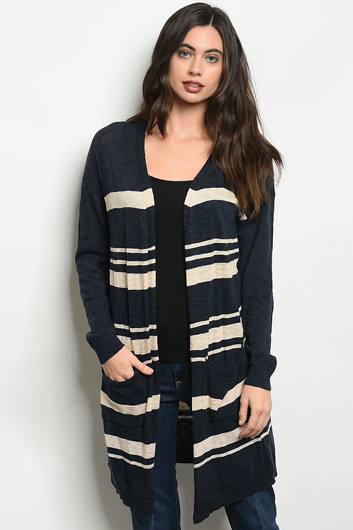 Womens Stripes Cardigan