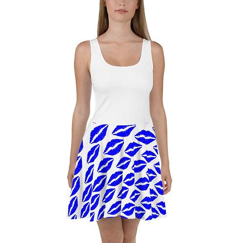Skater Dress- Blue Lips - Plain White Top