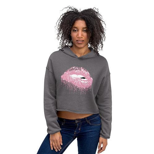 Crop Hoodie- Pink Lips