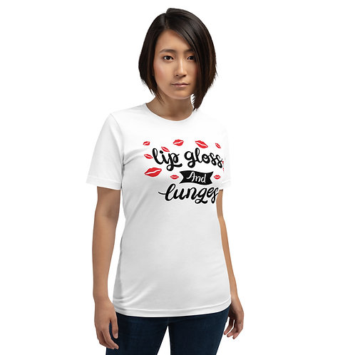Short-Sleeve Unisex T-Shirt- Lip Gloss and Lunges