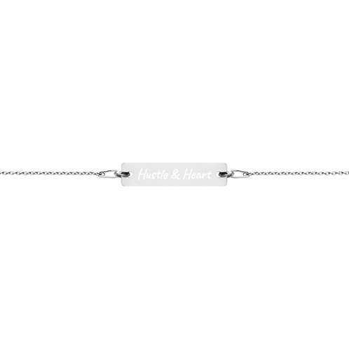 Engraved Silver Bar Chain Bracelet- Hustle and Heart