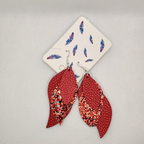 Layered Lightweight Faux Leather Leaf Earrings Red with Glitter