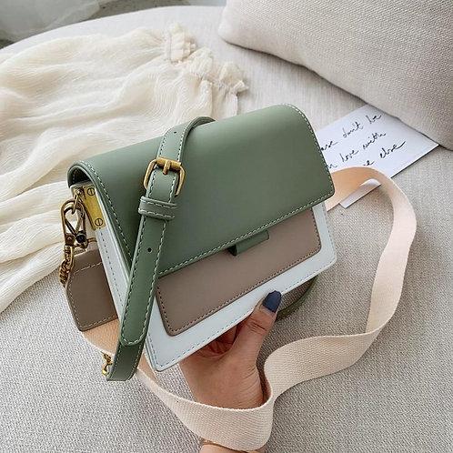 Luxury Contrast Leather Crossbody Bag