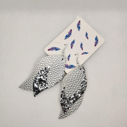 Layered Lightweight Faux Leather Leaf Earrings Silver with Glitter