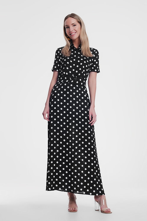 Black Maxi Shirt Dress in Mono Spot