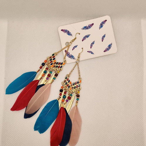Faux Feather Earrings Bohemian Fringe Tassel Tricolor