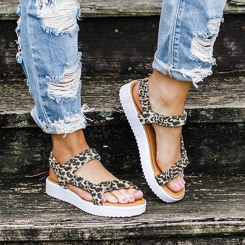 Flat Ladies Comfortable Ankle Hollow Round Toe Sandals Soft Sole