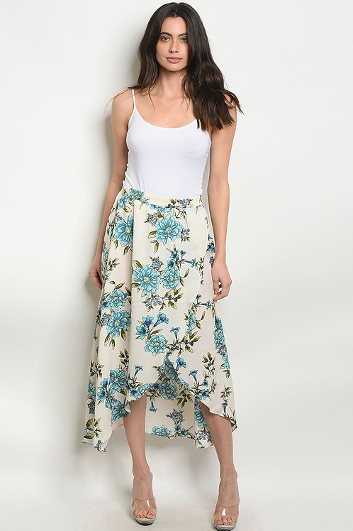 Cream Blue Floral Skirt
