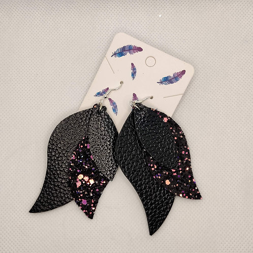 Layered Lightweight Faux Leather Leaf Earrings Black with Glitter
