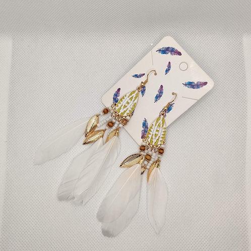 Faux Feather Earrings Bohemian Fringe Tassel White