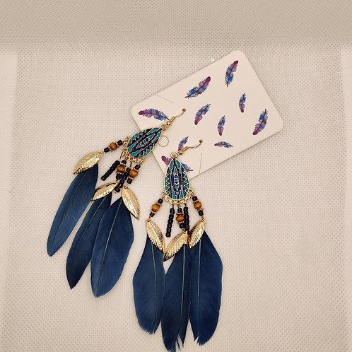 Faux Feather Earrings Bohemian Fringe Tassel Dark Blue
