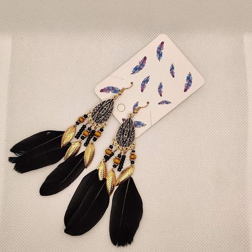 Faux Feather Earrings Bohemian Fringe Tassel Black