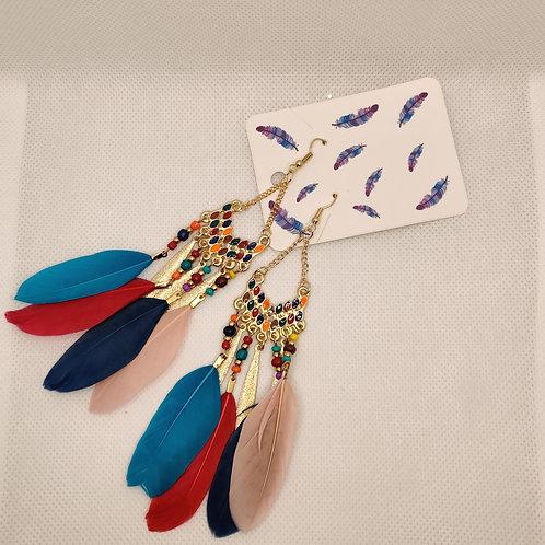 Faux Feather Earrings Bohemian Fringe Tassel Tricolor