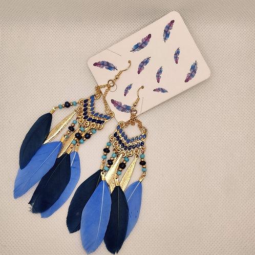 Faux Feather Earrings Bohemian Fringe Tassel Smokey Blue