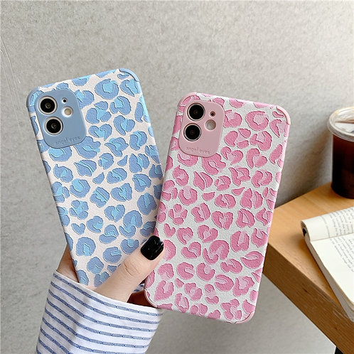 Pink Leopard Print Case for Iphone Plus Soft Silk Shockproof Back Cover Case