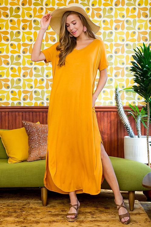 Short Sleeved Side Slit Oversized V-Neck Pocket Maxi Dress
