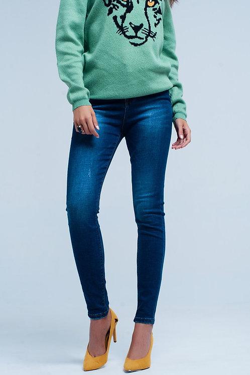Dark Blue Little Ripped Skinny High Waist Jeans