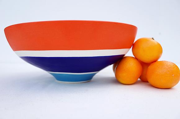 Orange & Cobalt Low Bowl