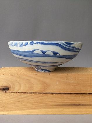 Blue Marbled Porcelain Low Bowl