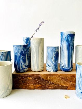 Blush-blue Marbled Bud Vase