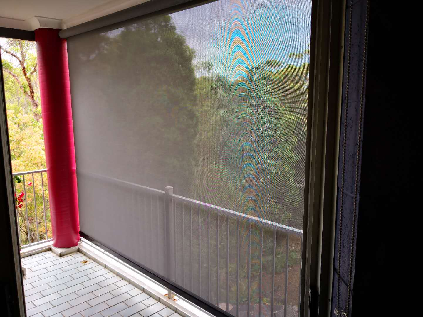 wire guided awning inside view