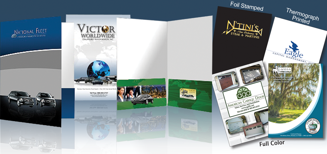 Full Color, and thermograph printed Presentation Folders