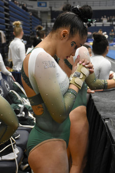 Michigan State sophomore, Lea Mitchel, takes a moment of silence to prepare before competing in the Big Ten Women's Gymnastics Championships on Saturday, March 23, 2019 in Rec Hall. Mitchel is one of two members of the Michigan State team to have competed on all apparatuses.