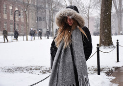 Senior Aubrey Abel trudges through the snow on her way downtown in State College, PA on Tuesday, January 29, 2019. State College had an intense winter resulting in five snow days.