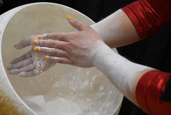 Kirstin Peterman chalks her hands in preparation for her uneven bars routine at the Big Ten Women's Gymnastics Championships on Saturday, March 23, 2019 in Rec Hall. Peterman came to Maryland University from Cambridge, Ontario in order to compete on their women's gymanstics team.