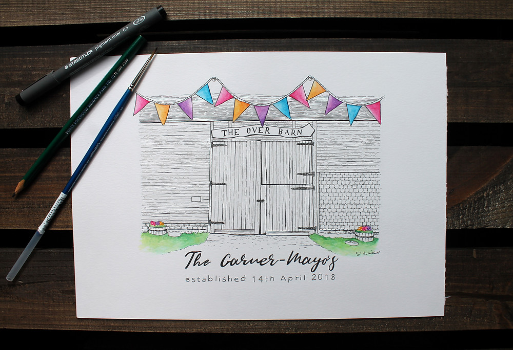 The completed hand drawn wedding gift illustration