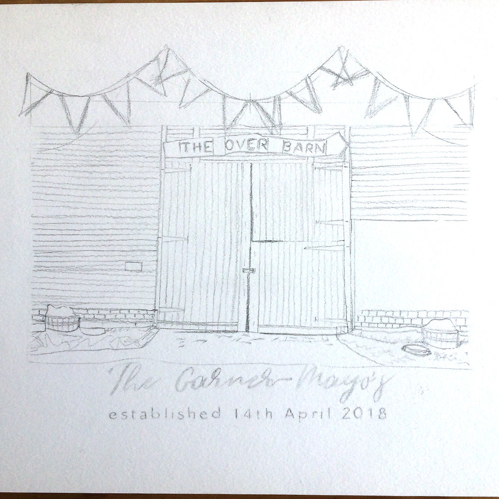 Initial pencil sketch outline of final wedding gift