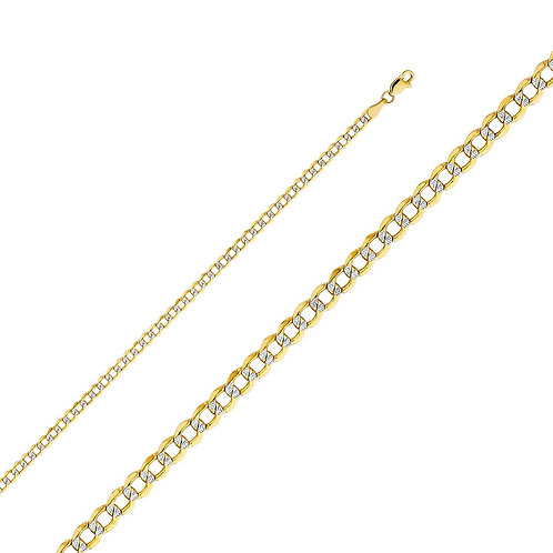 14k Two Tone Gold 3.4-mm Cuban Chain Necklace